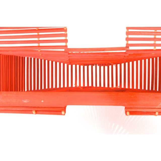 Image of 1960s Orange Geometric Asian Wood Handbag