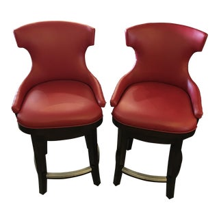 Palecek Red Nailhead Counter Stools - Pair