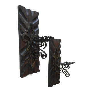 Spanish Wrought Iron Pillar Candle Holder Sconces - a Pair