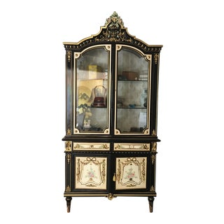 Italian Lacquer Glass Showcase Cabinet With Flower
