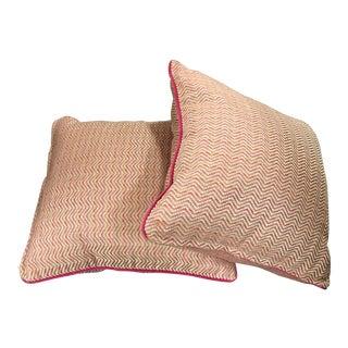 Pink & Orange Geometric Pillows - A Pair