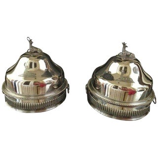Pair of Silver Sheffield Food Warmers