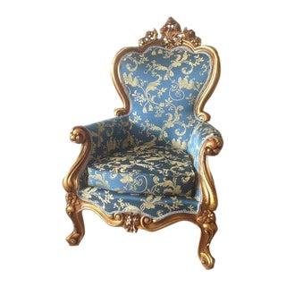 Louis XVI Style Blue Floral & Gold Accent Chair