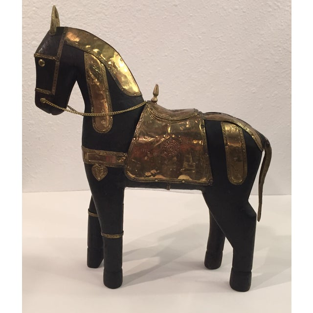 Asian Carved Wood & Brass Trojan Horse Set - Image 7 of 10