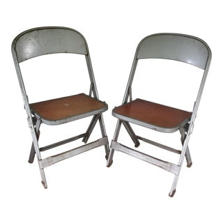 Metal & Wood Children's Chairs - A Pair