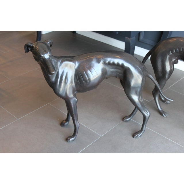 Life Size Bronze Grey Hounds - Pair - Image 3 of 5