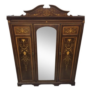 Monumental English Marquetry Armoire by Maple & Co. London