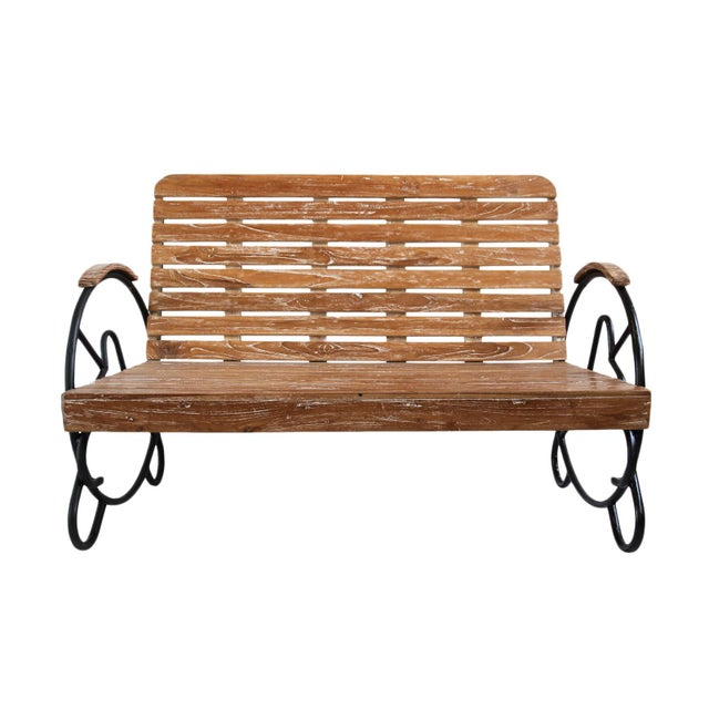 Teak Deco Two-Seater Bench - Image 5 of 5