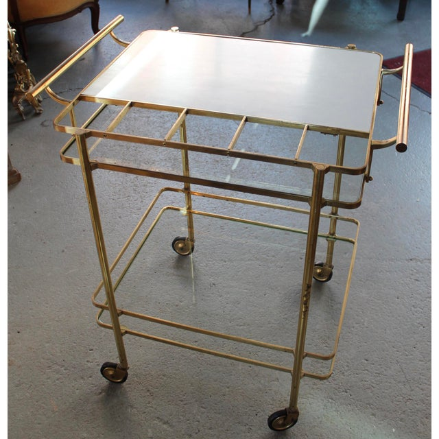 Vintage Mid-Century Brass and Glass Bar Cart - Image 2 of 9