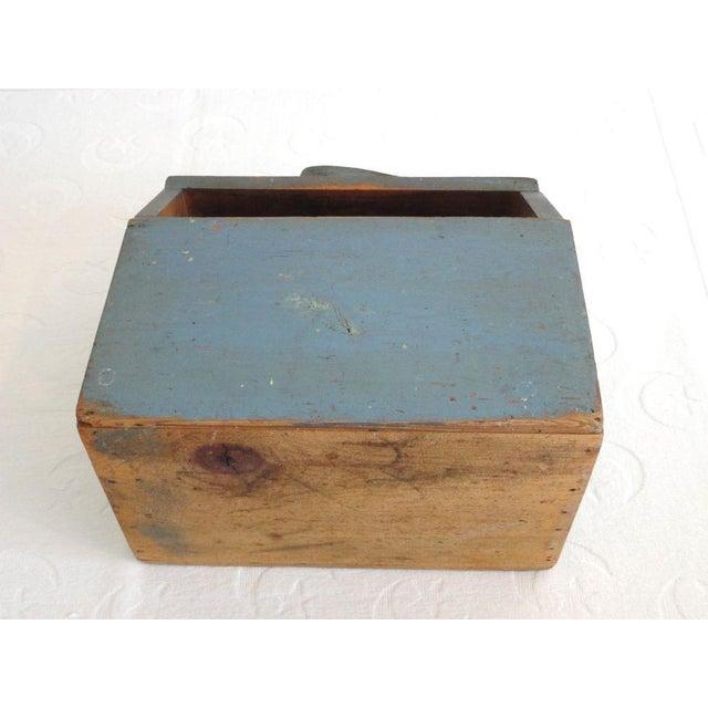 19th Century Original Blue Shoe Shine Box from Maine - Image 6 of 6