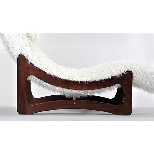 Image of White Mongolian Faux Fur Chaise Lounge