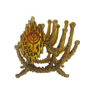 Modernist Brass Brutalist Letter Holder Menorah
