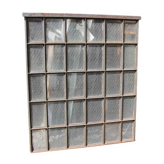 30 Pane Steel Frame Chicken Wire Glass Window