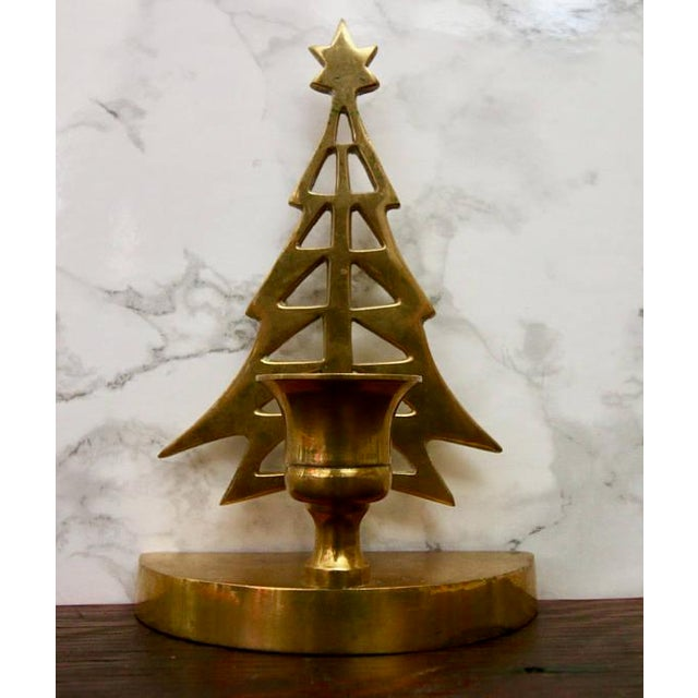 Vintage Brass Christmas Tree Taper Candle Holder - Image 4 of 4