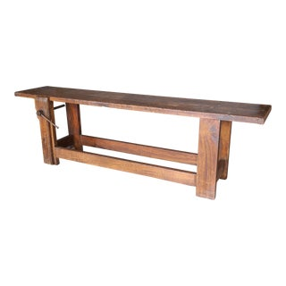 Long Narrow Rustic 19th Century Carpenter's Workbench Console
