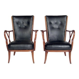 Vintage Mid-Century Black Leather & Nailhead Accent Chairs - Pair