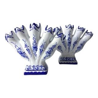 2 Blue & White Faience Tulipiere Vases