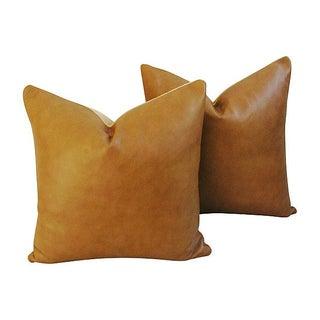 Genuine Italian Golden Tan Leather Pillows - Pair