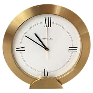 Tiffany & Co Brushed Brass Mantle Clock