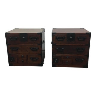 Asian Side Tables With Drawers - A Pair