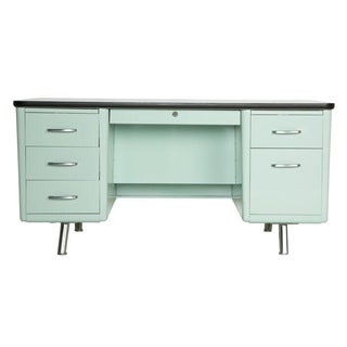 All Steel Top Tanker Desk in Seafoam Green