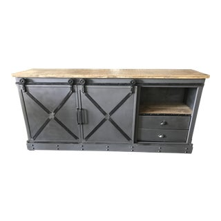 Industrial Steel & Wood Barn Door Console