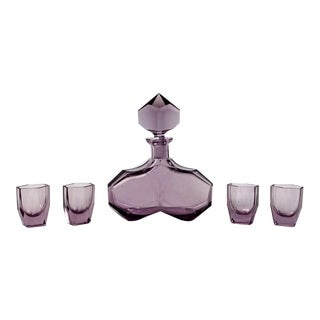 Art Deco Amethyst Glass Decanter & Glasses - S/5