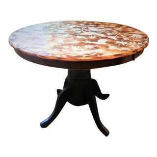 Hand-Stenciled Farmhouse Style Round Kitchen Table