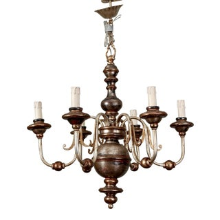 Italian Silver Leaf Wood and Iron Six-Arm Chandelier