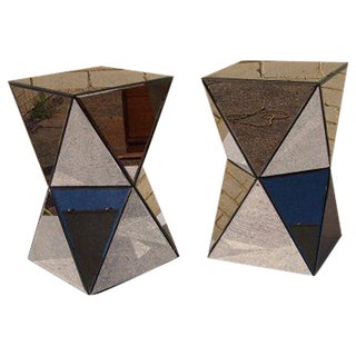 Faceted Mirror Side Tables