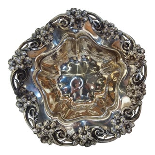 Beautiful Sterling Silver Large Floral Bowl by Wallace