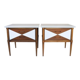 Mid-Century Lane White Nightstands – A Pair