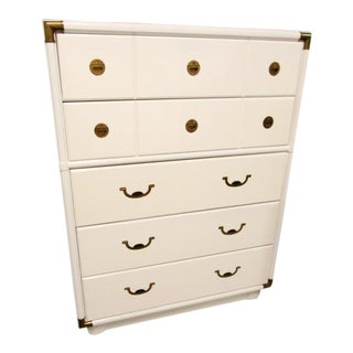 Drexel Accolade Campaign Lacquered White Chest Dresser