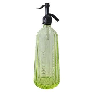 Vintage French Bistro Vaseline Glass Seltzer Bottle