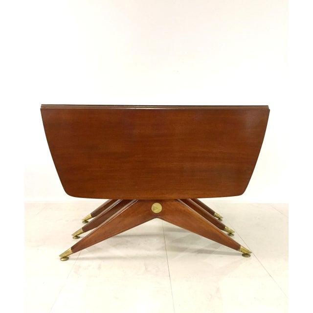 Gio Ponti Attr. Brass & Walnut Dining Table - Image 2 of 11