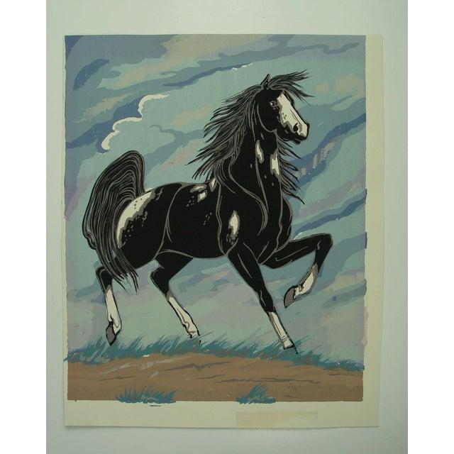 1970s Black & White Horse Serigraph - Image 2 of 3