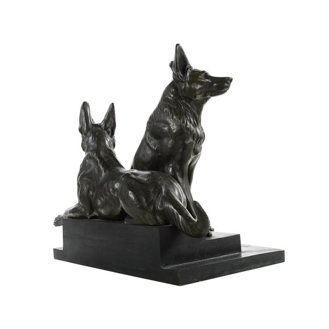 Carvin German Shepherds Dogs Bronze Sculpture - Image 8 of 9