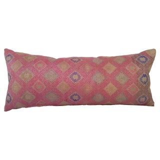 Hand Embroidered Silk Lumbar Pillow