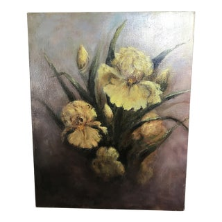 Moody Daffodils Vintage Painting Still Life
