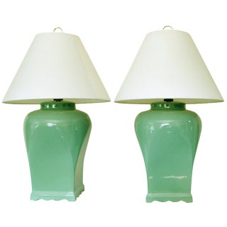 Vintage Celadon Asian-Style Lamps - A Pair