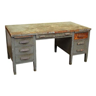 Industrial Worn Wood Desk