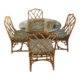 Mid-Century Modern Rattan Glass Dining Set