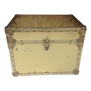 Mid-Century Brass Wood Trunk