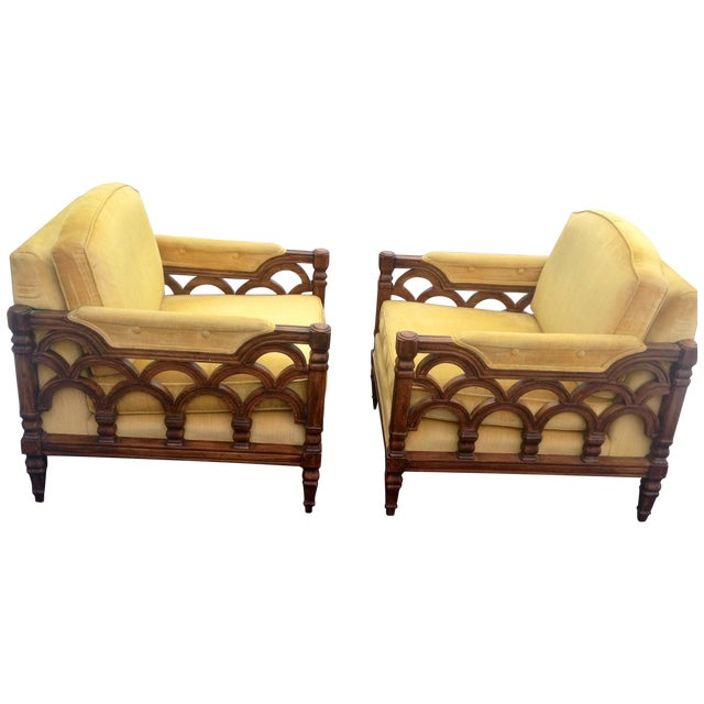 Mid-Century Thomasville Velour Club Chairs - Pair - Image 1 of 8