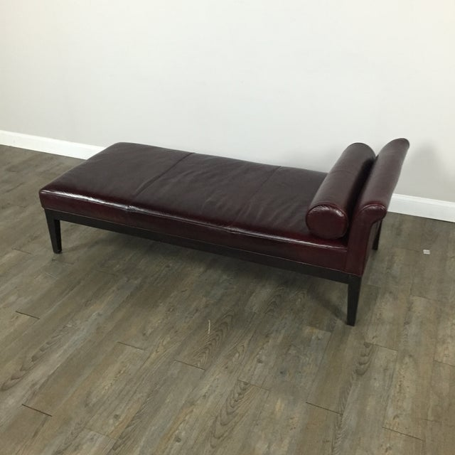 Crate & Barrel Leather Chaise Lounge - Image 3 of 9