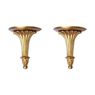 Neoclassical Gilt Gold Sconce Shelves - A Pair