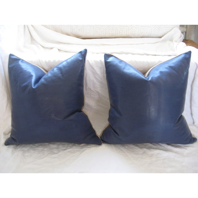 Atlantic Blue Leather Pillows - A Pair - Image 4 of 7