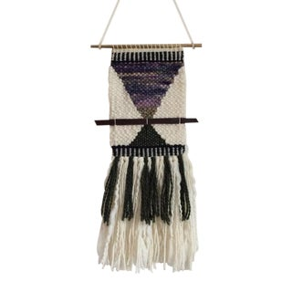 Hand Woven Wall Hanging in Green & Purple