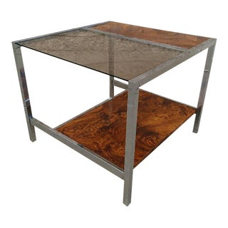 Mid-Century Chrome Burl Wood Side Table