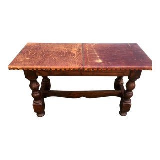 Distressed Leather Spanish Bench
